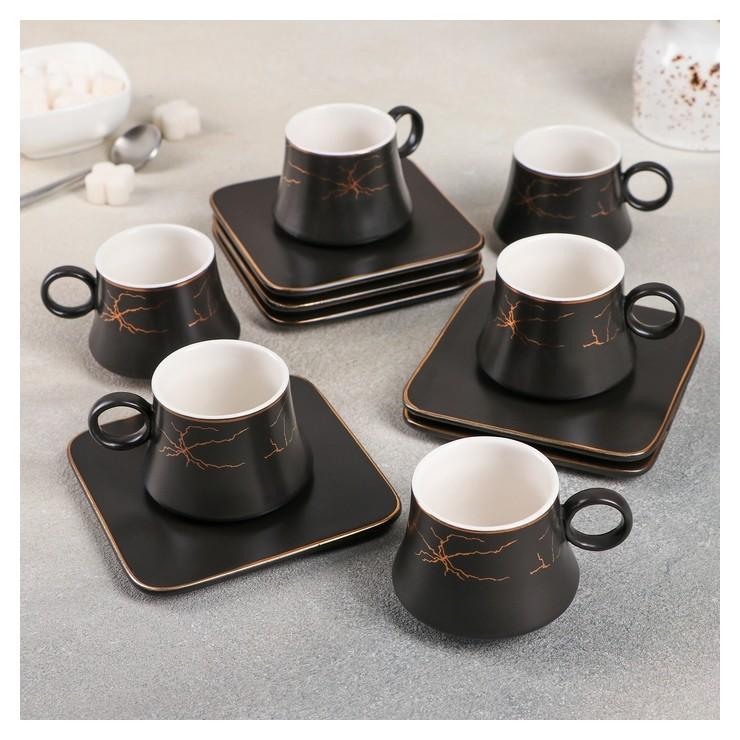 Набор кофейный «Мейси», 12 предметов: 6 чашек 100 мл, 6 блюдец 11 см, цвет чёрный NNB