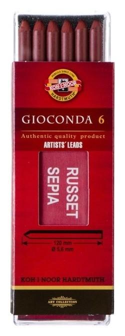 Сепия стержень 5.6мм набор 6шт K-i-n Gioconda 4373, красно-коричневая (2364432)  Koh-i-noor
