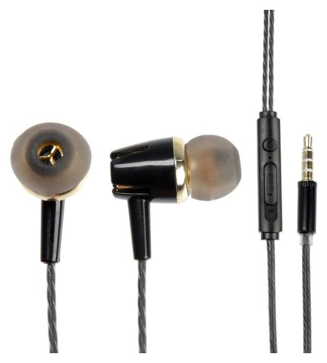 Наушники Oxion Hs103bk, вакуумные, микрофон, 116 дБ, 32 Ом, 3.5 мм, 1.1 м, черные Oxion