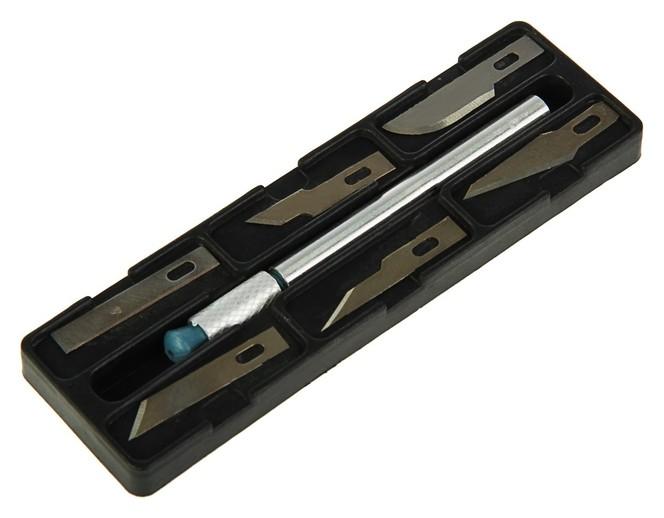 Нож макетный Курс, 6 дополнительных лезвий, металлический корпус КНР