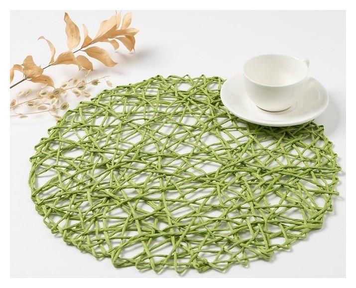 """Салфетка сервировочная доляна """"Трава"""", цв.зеленый, D 38 см  Доляна"""