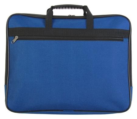 Папка с ручками текстиль А4, 30 мм, 360 х 260 мм, «Офис», 1ш41, с карманом «рант тесьма», синий  Канцбург