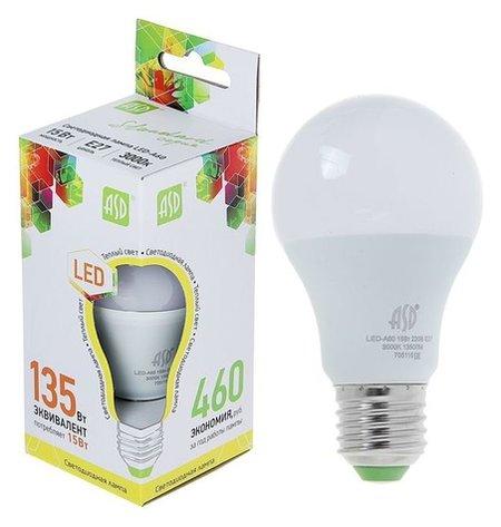 Лампа светодиодная ASD Led-a60-standard, е27, 15 Вт, 230 В, 3000 К, 1350 Лм  ASD