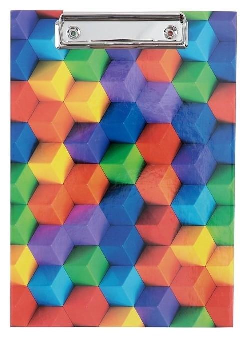 Планшет с зажимом А5, ламинированный картон канцбург «Кубики»  Канцбург