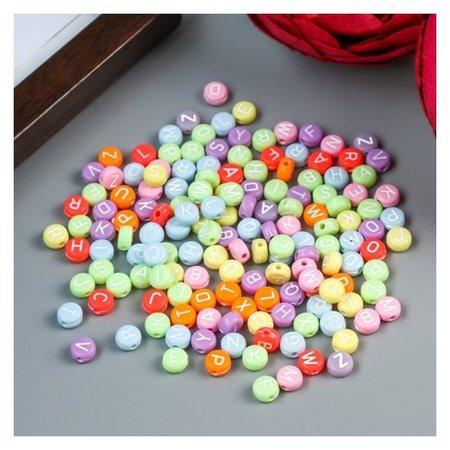 Набор бусин для творчества пластик Яркие кружочки с буквами 20 гр 0,4х0,7х0,7 см Арт узор
