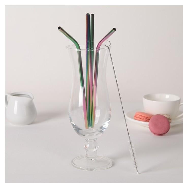 Набор трубочек с ёршиком 4 шт Color, 21 см  NNB