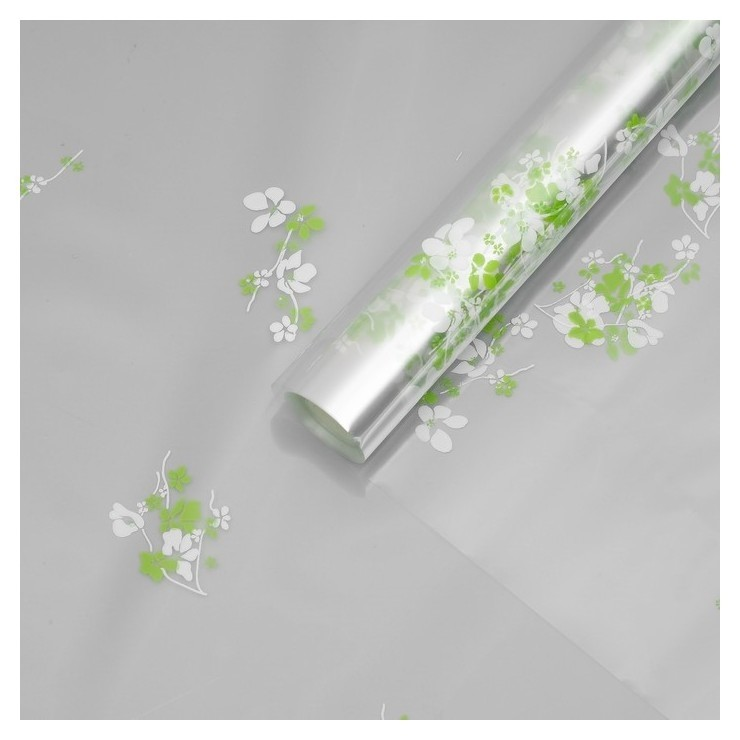 Пленка для цветов Анютины глазки, бело - салатовый, 0,7 х 7,5 м, 40 мкм NNB