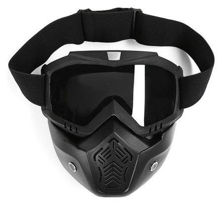 Очки-маска для езды на мототехнике Torso, разборные, стекло с затемнением, черные Torso