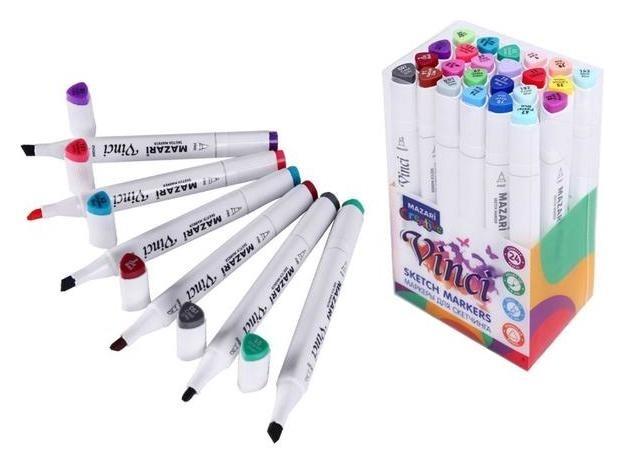 Набор двухсторонних маркеров для скетчинга Mazari Vinci 24 цвета Main Colors (Основные цвета), пишущие узлы 1.0-6.2 мм Mazari