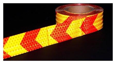 Светоотражающая лента, самоклеящаяся, желто-красная, 5 см х 25 м  NNB