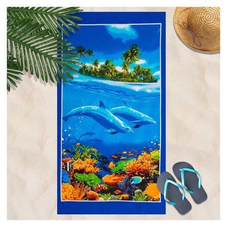 Вафельное полотенце пляжное «Дельфин» 80х150 см, разноцветный, 160г/м2,хлопок 100%  DomoVita