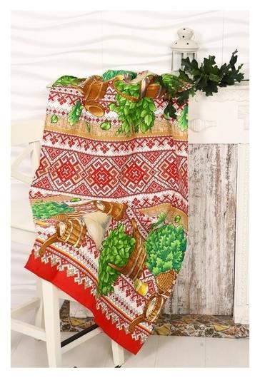 Вафельное полотенце «Русская баня», размер 80х150 см, разноцветный, хлопок  DomoVita