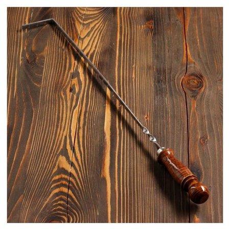 Кочерга узбекская с деревянной ручкой, с узором 40/1см, сталь 3мм NNB