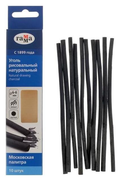 "Уголь натуральный 4-6 мм, набор 10 штук, «Гамма» ""Московская палитра"" 140 мм, ивовый  Гамма"