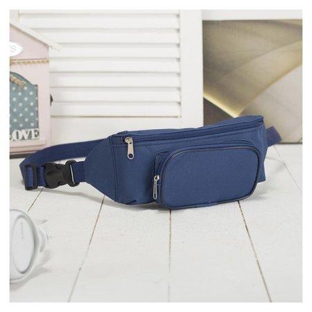 Сумка поясная, отдел на молнии, наружный карман, цвет синий  ЗФТС