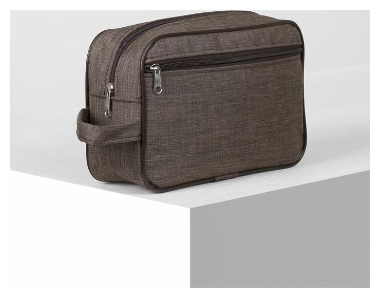 Косметичка дорожная, отдел на молнии, наружный карман, цвет коричневый ЗФТС