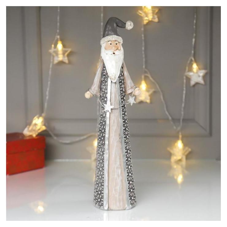 Сувенир полистоун Дед мороз в серой шубе, с гирляндой со звёздами 31,5х7х9,5 см NNB
