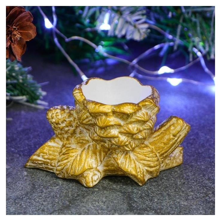 Подсвечник Ветка с шишками яркое золото Хорошие сувениры