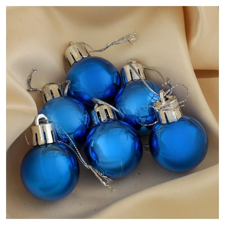 Набор шаров пластик D-3 см, 6 шт Глянец синий Зимнее волшебство