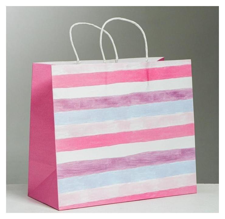Пакет подарочный крафтовый Love, 32 × 28 × 15 см Дарите счастье