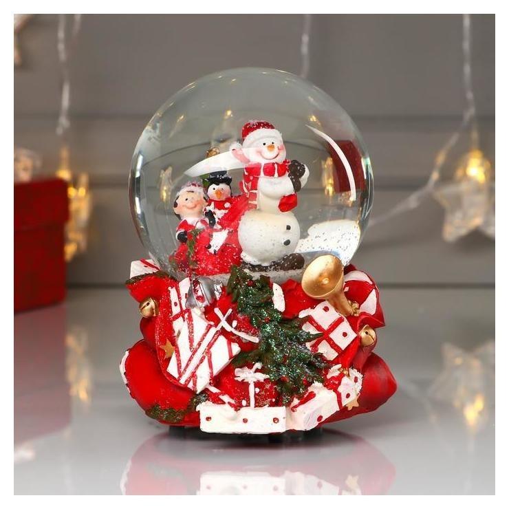 Сувенир полистоун водяной шар музыка Снеговик с помощниками D=10 см 14,8х11х11 см NNB