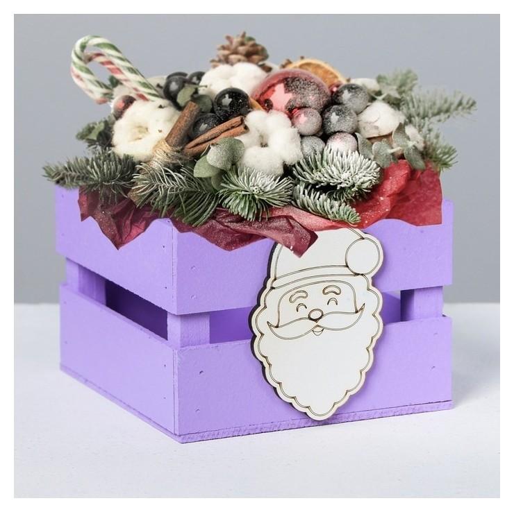 Деревянный ящик реечный Дед мороз с декором Дарите счастье