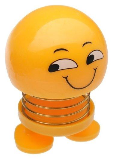 Смайл на пружинке, на панель в авто, улыбка, желтый  NNB