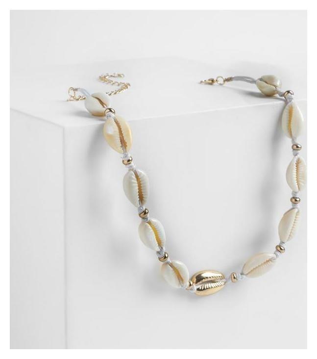 Колье Морская стихия сплетённые ракушки на белом шнурке, цвет бежевый NNB