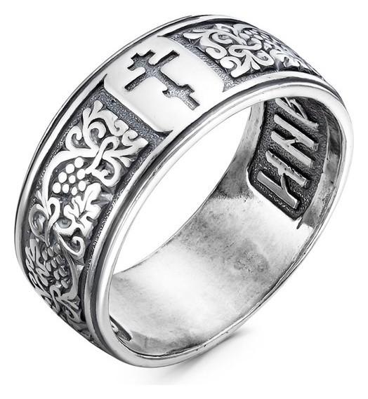 """Кольцо """"Спаси и сохрани"""" с внешним орнаментом, крест, посеребрение с оксидированием, 18,5 размер  Красная пресня"""