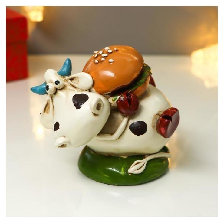 Копилка полистоун Бычок гаврюша с гамбургером 9,5х12х7,5 см NNB