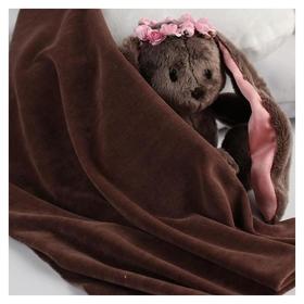 Отрез трикотажный для рукоделия, велюр, цвет коричневый, 45 × 50 см