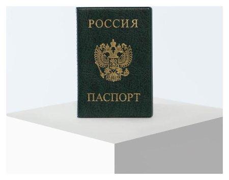 Обложка для паспорта 9,5*0,5*13,5см, герб, зеленый NNB