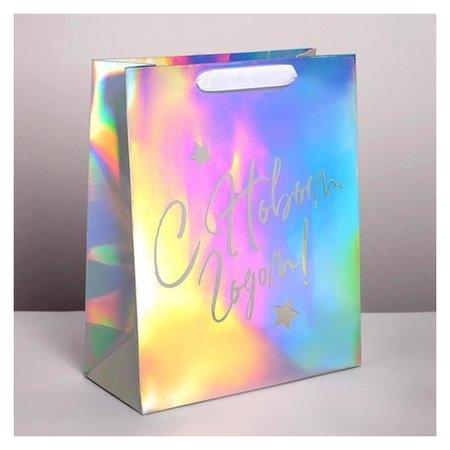 Пакет голографический вертикальный «С новым годом!», 26 × 32 × 12 см Дарите счастье