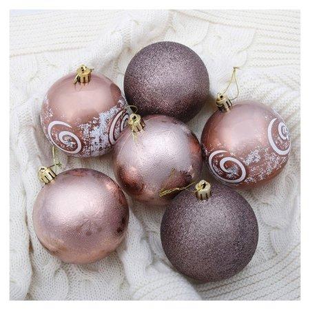 Набор шаров пластик D-8 см, 6 шт Шоколадная сказка завиток Зимнее волшебство