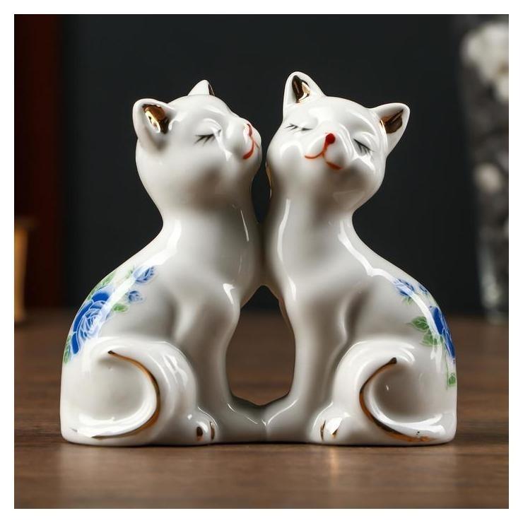 Сувенир керамика 2 котёнка в цветочек 9,5х4,5х10,6 см NNB