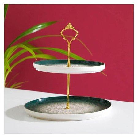 Блюдо «Марлет», 25/20×22 см, 2 яруса, цвет зелёный  NNB