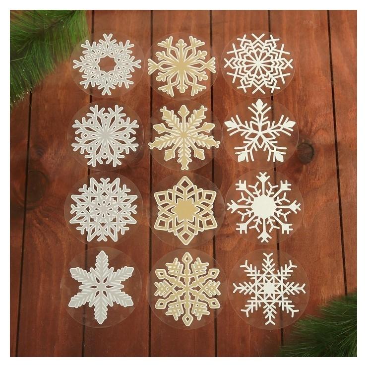 Набор наклеек Снежинки 12 наклеек в наборе, белые, золото, серебро, 9 X 9 см NNB