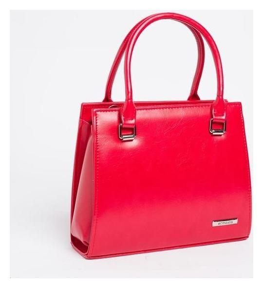 Сумка женская, отдел на молнии, длинный ремень, наружный карман, цвет красный El masta