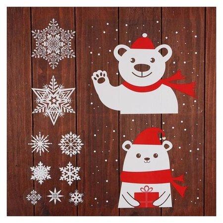 """Набор наклеек """"Новогодний"""" зверята в красном шарфике, 34,3 х 35,6 см  NNB"""