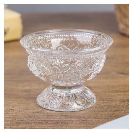 Подсвечник стекло на 1 свечу Креманка с узорами 5,2х7,2х7,2 см NNB