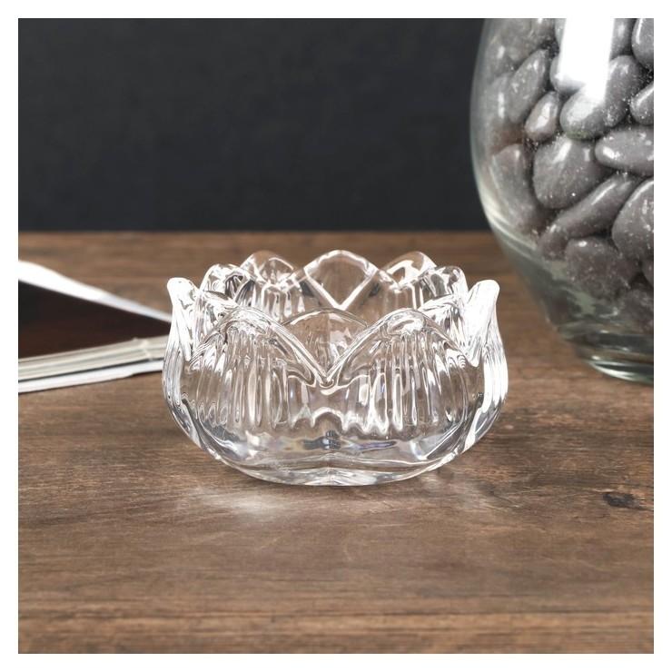 Подсвечник стекло на 1 свечу Купавка 3,5х5,8х5,8 см NNB