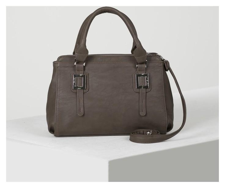 Сумка женская, 2 отдела на молнии, наружный карман, длинный ремень, цвет коричневый Janelli