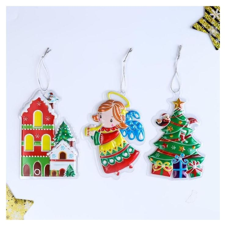 Декор пластик объёмный Новогодний - ёлка/домик/ангел 23х12,5 см NNB