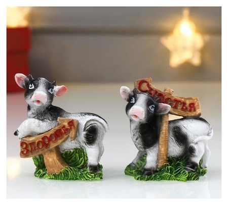 Сувенир полистоун Корова пятнистая на лугу с указателем 6,5х3х6 см NNB