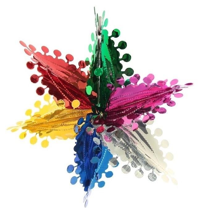 Шар фольгированный Цветок с кружочками 30*30 см Зимнее волшебство