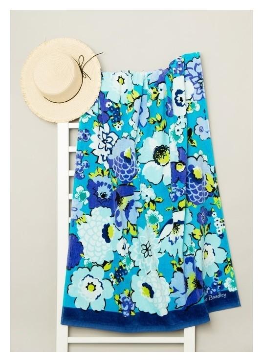 Полотенце пляжное велюровое Bradley 80х170 см, синий, хлопок 100%, 500 г/м2  Fiesta