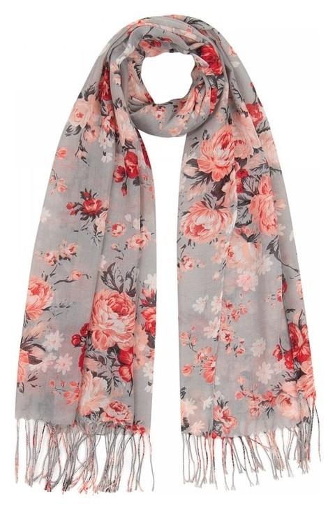 Палантин женский текстильный, цвет серый/цветы, размер 63х180  Rossini