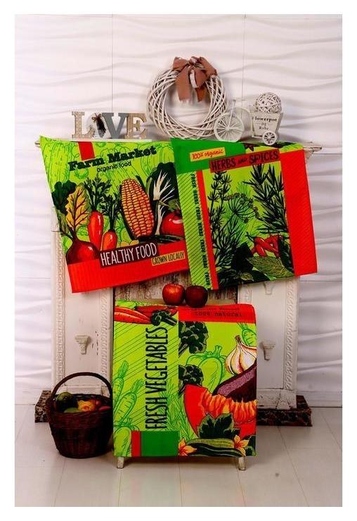 Набор вафельных полотенец «Специи» цвет зелёный, 45х60 см - 3 шт  DomoVita