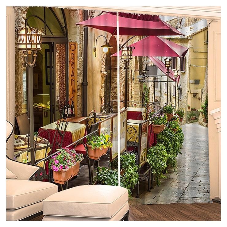 Фотошторы Цветочное кафе 145х260 см 2шт, габардин 160гр/м2, пэ100% Фабрика штор