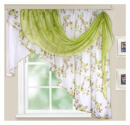 Комплект штор для кухни «Иллюзия», 300х150 см, цвет зелёный, принт  Witerra
